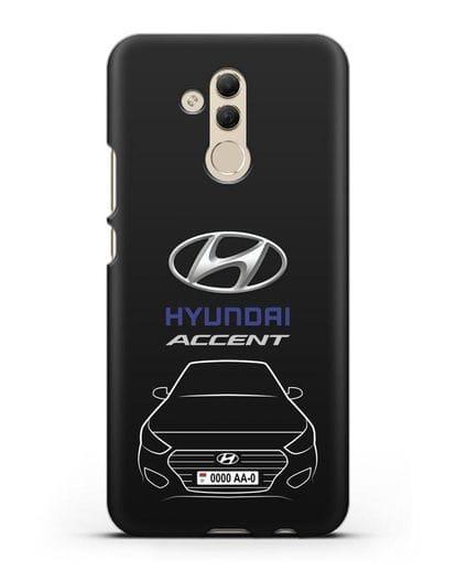 Чехол Hyundai Accent с автомобильным номером силикон черный для Huawei Mate 20 Lite