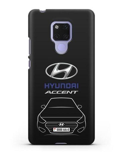 Чехол Hyundai Accent с автомобильным номером силикон черный для Huawei Mate 20X