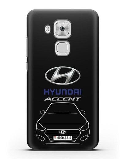 Чехол Hyundai Accent с автомобильным номером силикон черный для Huawei Nova Plus