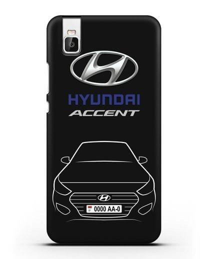 Чехол Hyundai Accent с автомобильным номером силикон черный для Huawei Shot X