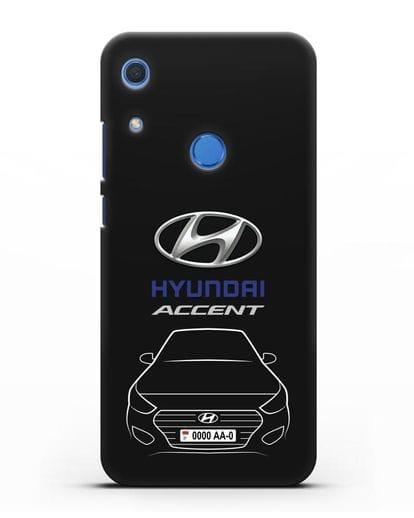 Чехол Hyundai Accent с автомобильным номером силикон черный для Huawei Y6s