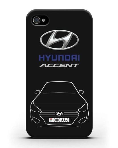 Чехол Hyundai Accent с автомобильным номером силикон черный для iPhone 4/4s