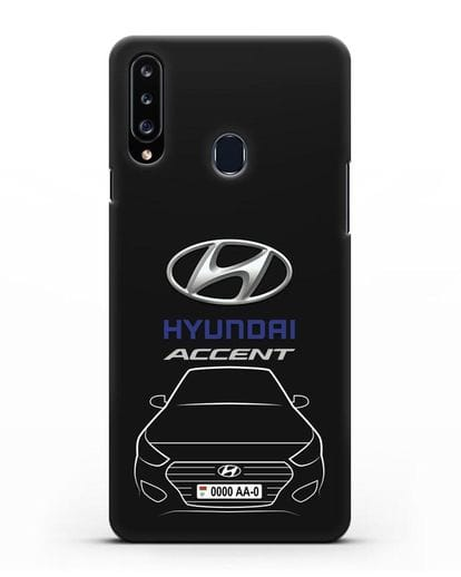 Чехол Hyundai Accent с автомобильным номером силикон черный для Samsung Galaxy A20s [SM-A207FN]