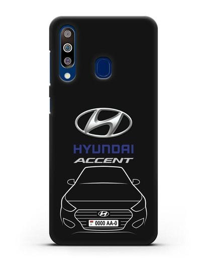 Чехол Hyundai Accent с автомобильным номером силикон черный для Samsung Galaxy A60 [SM-A606F]