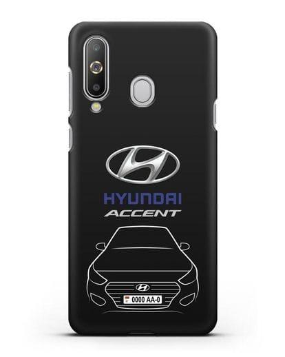 Чехол Hyundai Accent с автомобильным номером силикон черный для Samsung Galaxy A8s [SM-G8870]