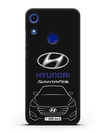Чехол Hyundai SantaFe с автомобильным номером силикон черный для Honor 8A