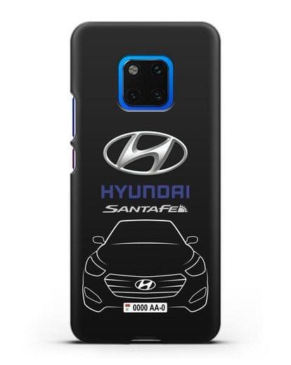 Чехол Hyundai SantaFe с автомобильным номером силикон черный для Huawei Mate 20 Pro