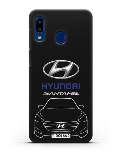 Чехол Hyundai SantaFe с автомобильным номером силикон черный для Samsung Galaxy A20 [SM-A205FN]