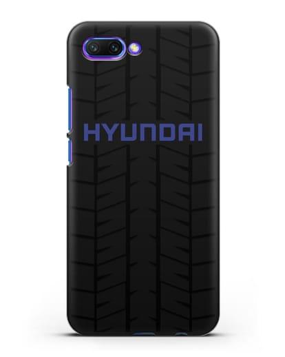 Чехол с логотипом Хёндэ с протектором шин силикон черный для Honor 10