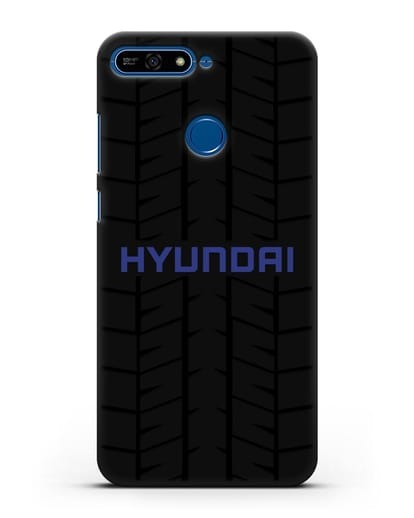 Чехол с логотипом Хёндэ с протектором шин силикон черный для Honor 7А Pro