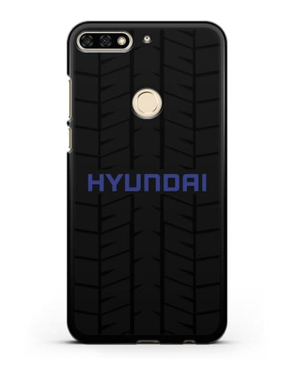 Чехол с логотипом Хёндэ с протектором шин силикон черный для Honor 7C