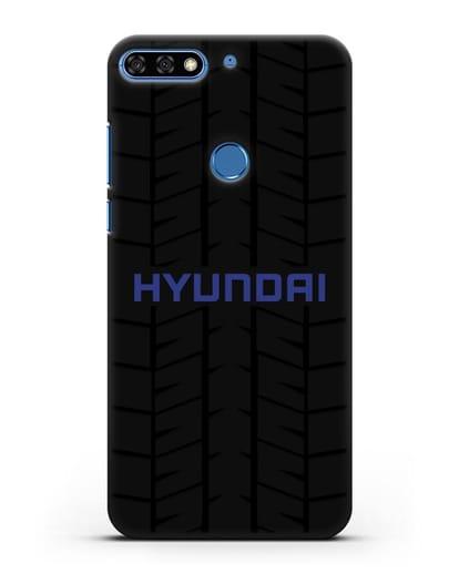 Чехол с логотипом Хёндэ с протектором шин силикон черный для Honor 7C Pro