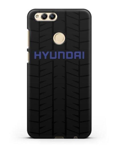 Чехол с логотипом Хёндэ с протектором шин силикон черный для Honor 7X
