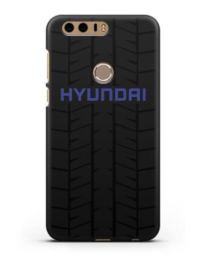 Чехол с логотипом Хёндэ с протектором шин силикон черный для Honor 8