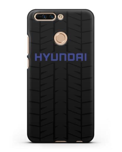 Чехол с логотипом Хёндэ с протектором шин силикон черный для Honor 8 Pro