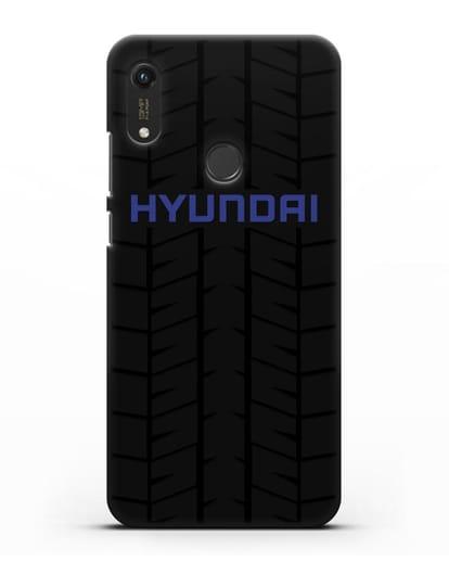 Чехол с логотипом Хёндэ с протектором шин силикон черный для Honor 8A Prime