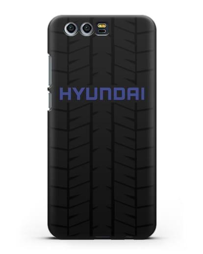 Чехол с логотипом Хёндэ с протектором шин силикон черный для Honor 9