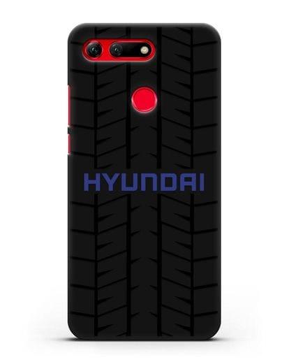 Чехол с логотипом Хёндэ с протектором шин силикон черный для Honor View 20