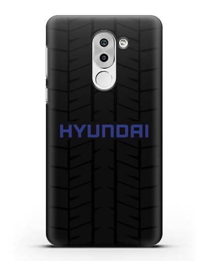 Чехол с логотипом Хёндэ с протектором шин силикон черный для Huawei Mate 9 Lite