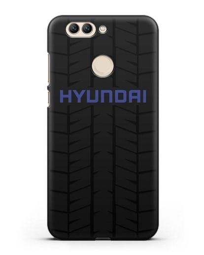 Чехол с логотипом Хёндэ с протектором шин силикон черный для Huawei Nova 2 Plus