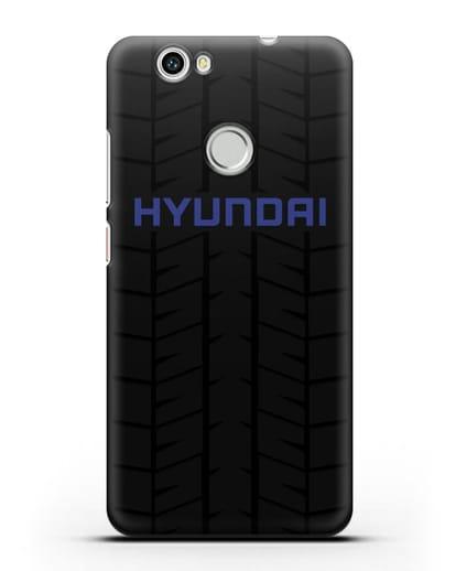 Чехол с логотипом Хёндэ с протектором шин силикон черный для Huawei Nova