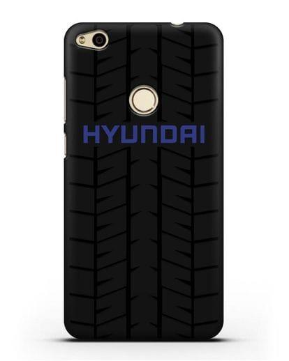 Чехол с логотипом Хёндэ с протектором шин силикон черный для Huawei P8 Lite 2017