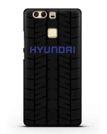 Чехол с логотипом Хёндэ с протектором шин силикон черный для Huawei P9