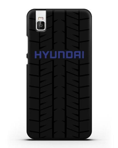 Чехол с логотипом Хёндэ с протектором шин силикон черный для Huawei Shot X