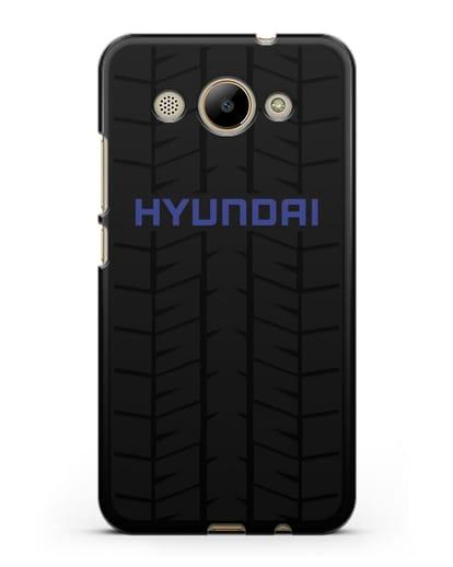 Чехол с логотипом Хёндэ с протектором шин силикон черный для Huawei Y3 2017