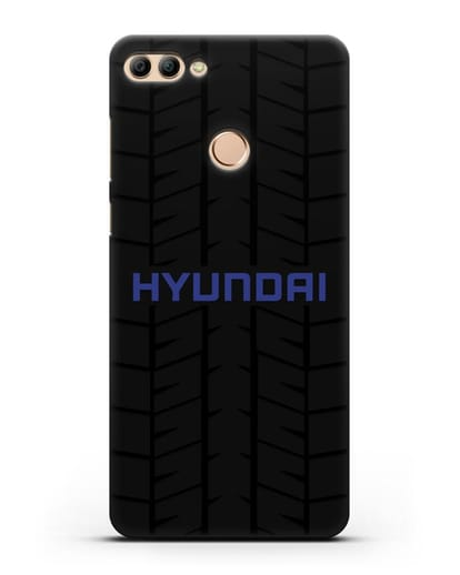 Чехол с логотипом Хёндэ с протектором шин силикон черный для Huawei Y9 2018