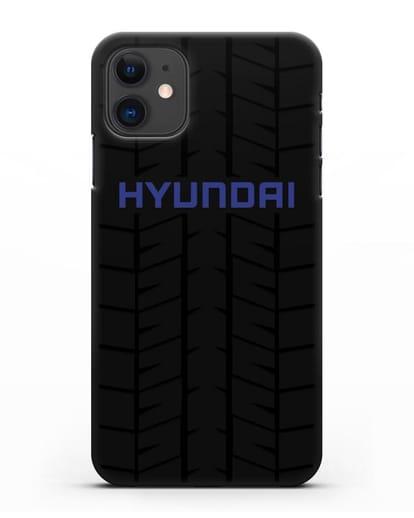 Чехол с логотипом Хёндэ с протектором шин силикон черный для iPhone 11