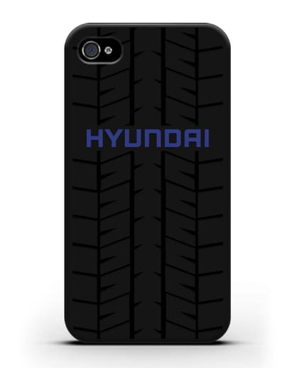 Чехол с логотипом Хёндэ с протектором шин силикон черный для iPhone 4/4s