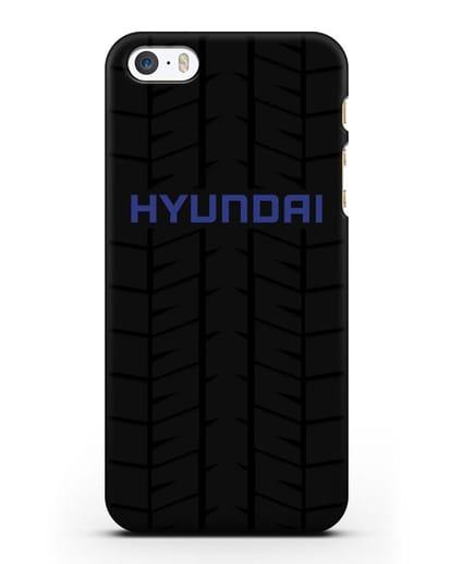 Чехол с логотипом Хёндэ с протектором шин силикон черный для iPhone 5/5s/SE
