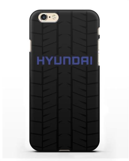 Чехол с логотипом Хёндэ с протектором шин силикон черный для iPhone 6s