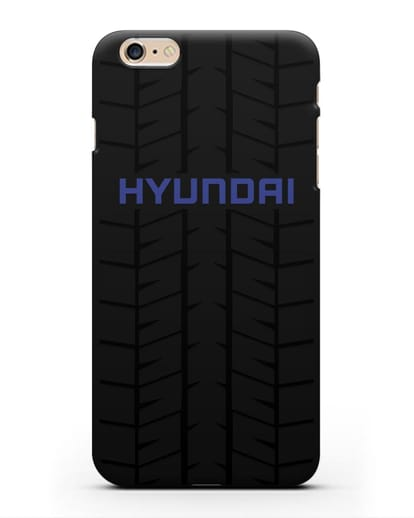 Чехол с логотипом Хёндэ с протектором шин силикон черный для iPhone 6 Plus