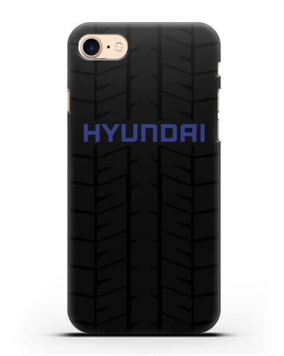 Чехол с логотипом Хёндэ с протектором шин силикон черный для iPhone SE 2020
