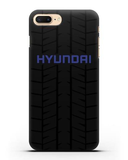 Чехол с логотипом Хёндэ с протектором шин силикон черный для iPhone 7 Plus
