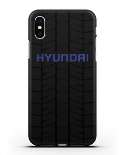 Чехол с логотипом Хёндэ с протектором шин силикон черный для iPhone XS