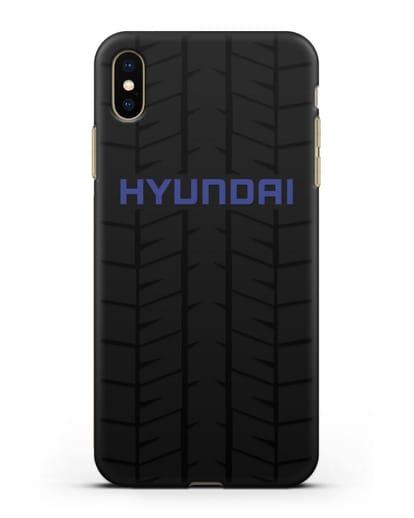 Чехол с логотипом Хёндэ с протектором шин силикон черный для iPhone XS Max
