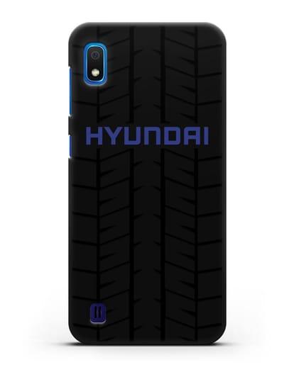 Чехол с логотипом Хёндэ с протектором шин силикон черный для Samsung Galaxy A10 [SM-A105F]