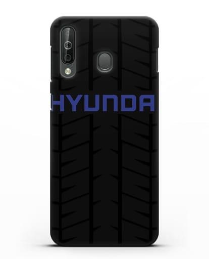 Чехол с логотипом Хёндэ с протектором шин силикон черный для Samsung Galaxy A40s [SM-A507FN]