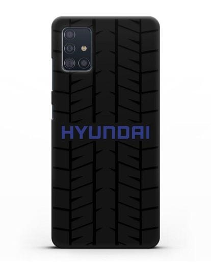 Чехол с логотипом Хёндэ с протектором шин силикон черный для Samsung Galaxy A51 [SM-A515F]