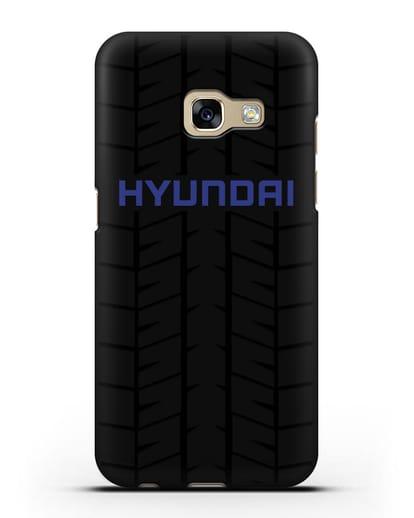 Чехол с логотипом Хёндэ с протектором шин силикон черный для Samsung Galaxy A7 2017 [SM-A720F]
