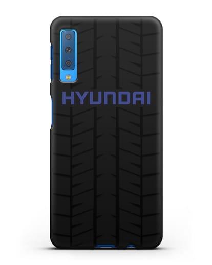 Чехол с логотипом Хёндэ с протектором шин силикон черный для Samsung Galaxy A7 2018 [SM-A750F]