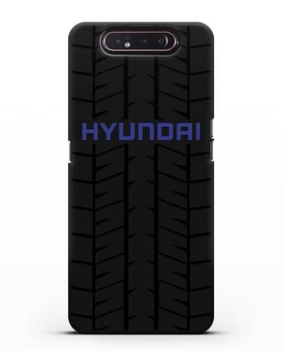 Чехол с логотипом Хёндэ с протектором шин силикон черный для Samsung Galaxy A80 [SM-A805F]