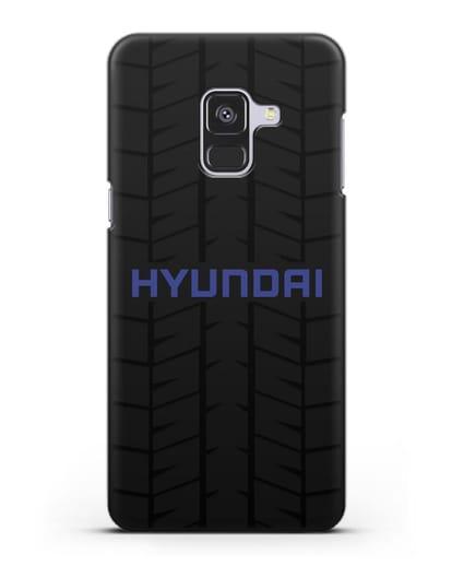Чехол с логотипом Хёндэ с протектором шин силикон черный для Samsung Galaxy A8 Plus [SM-A730F]