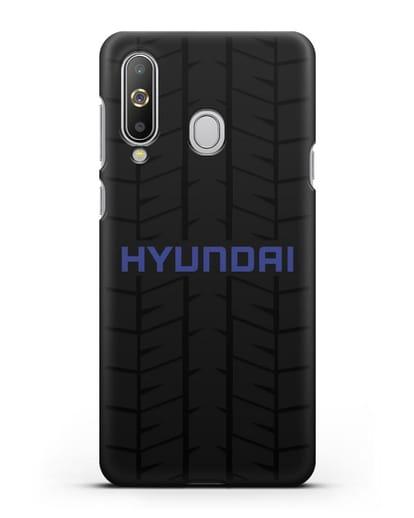 Чехол с логотипом Хёндэ с протектором шин силикон черный для Samsung Galaxy A8s [SM-G8870]