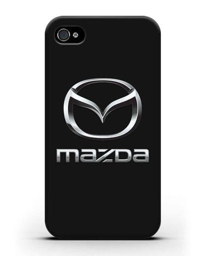 Чехол с логотипом Mazda силикон черный для iPhone 4/4s