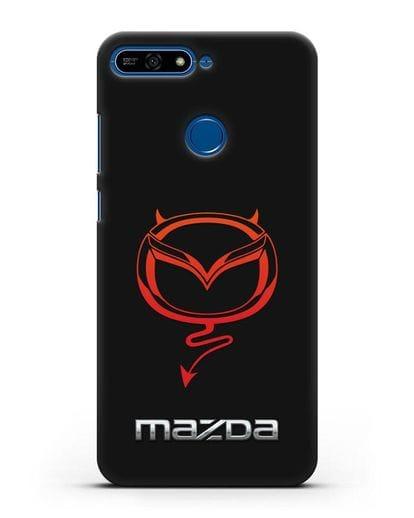 Чехол с логотипом Мазда Дьявол силикон черный для Honor 7А Pro