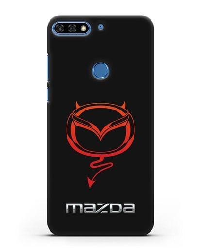 Чехол с логотипом Мазда Дьявол силикон черный для Honor 7C Pro